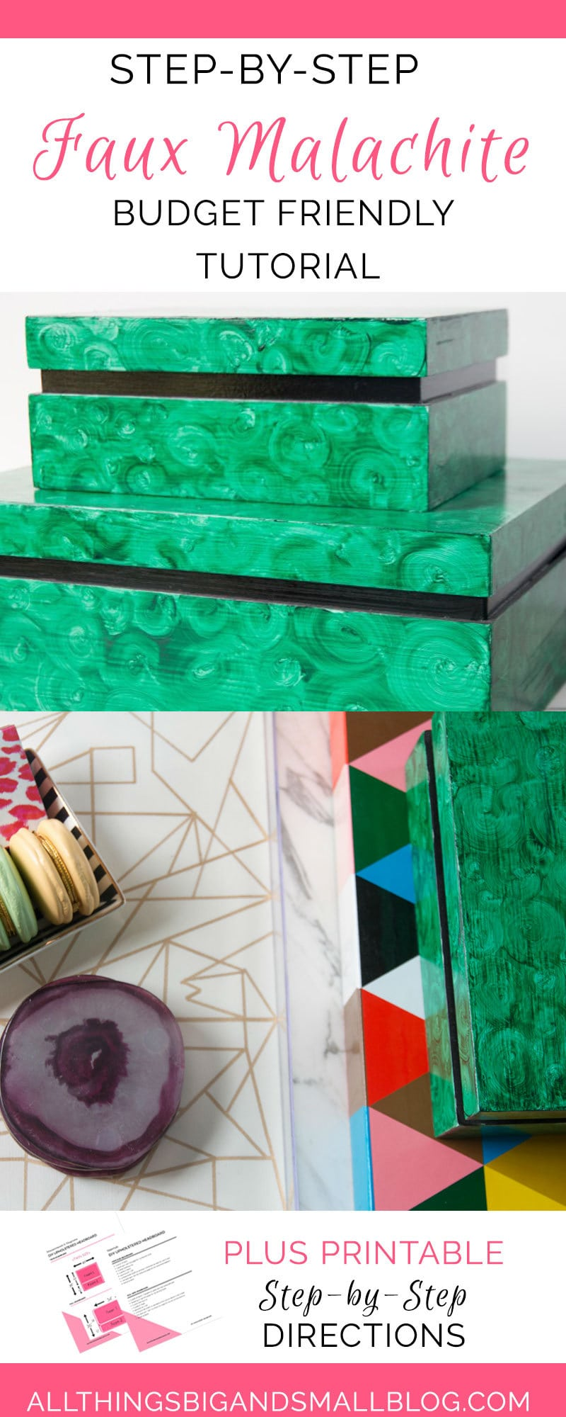 Faux Malachite | DIY faux malachite box | DIY home decor by ALL THINGS BIG AND SMALL