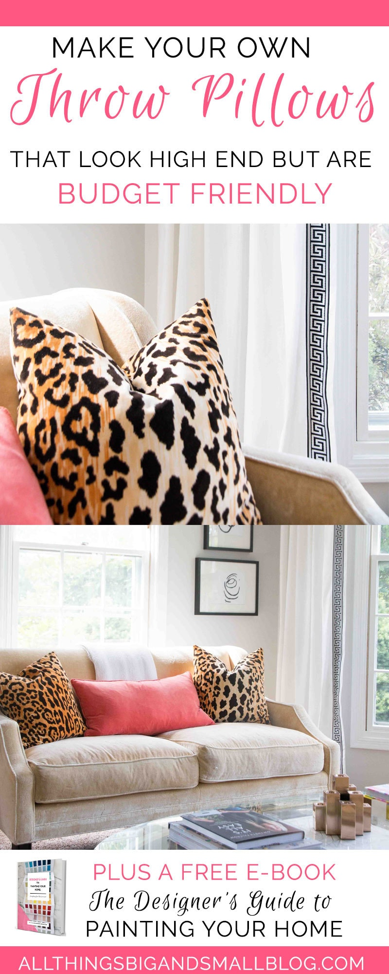 make your own throw pillow | DIY pillow cover | how to make pillow cover | ALL THINGS BIG AND SMALL