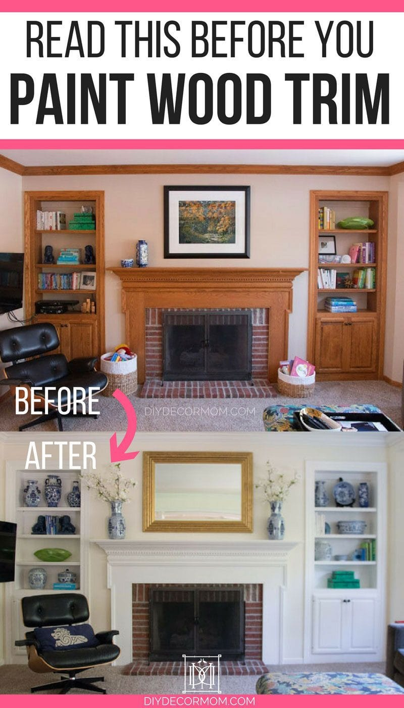 painting wood trim before and after fireplace and built-in bookshelves