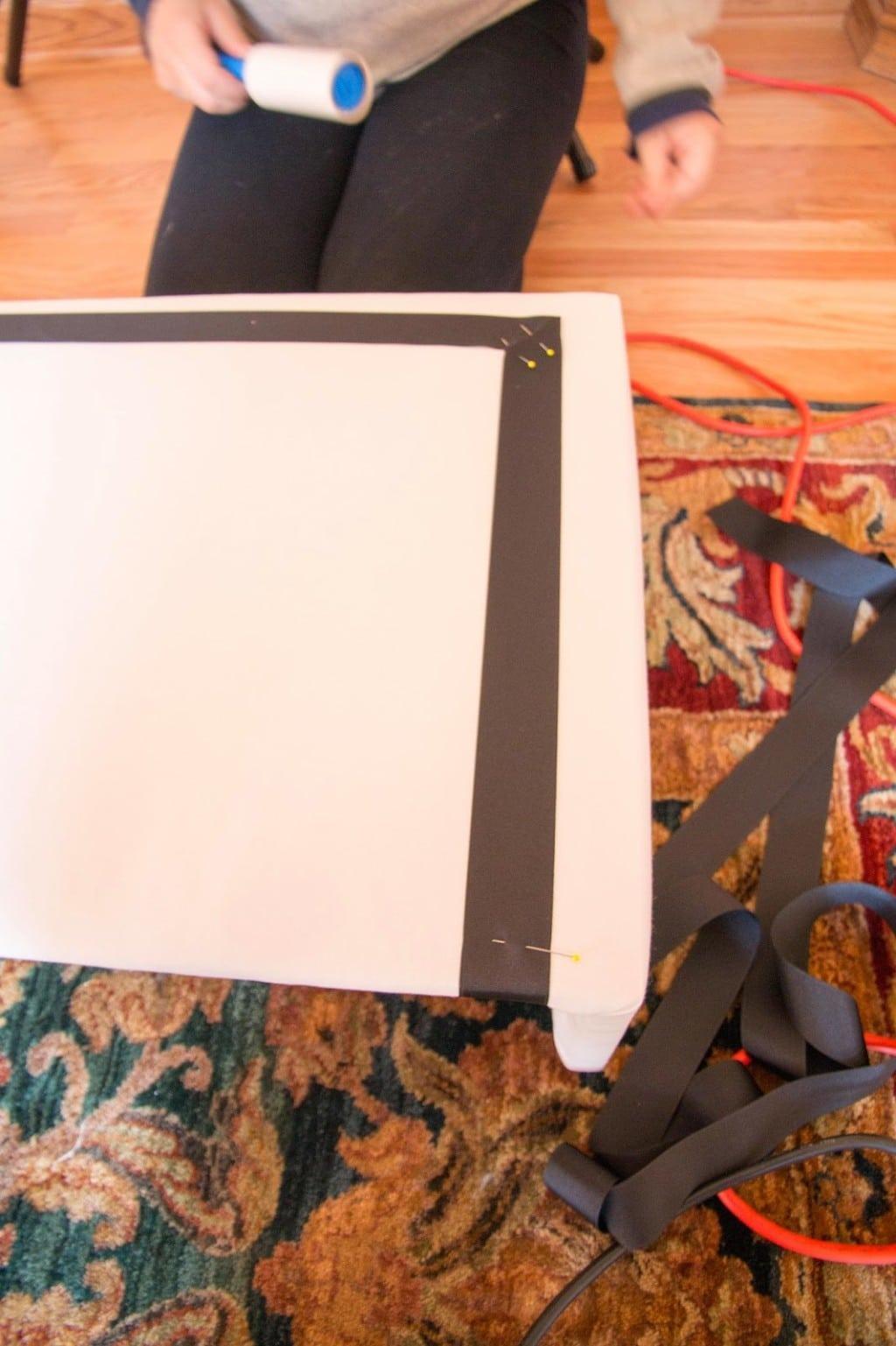 making a DIY Pelmet Box with grosgrain ribbon on floor