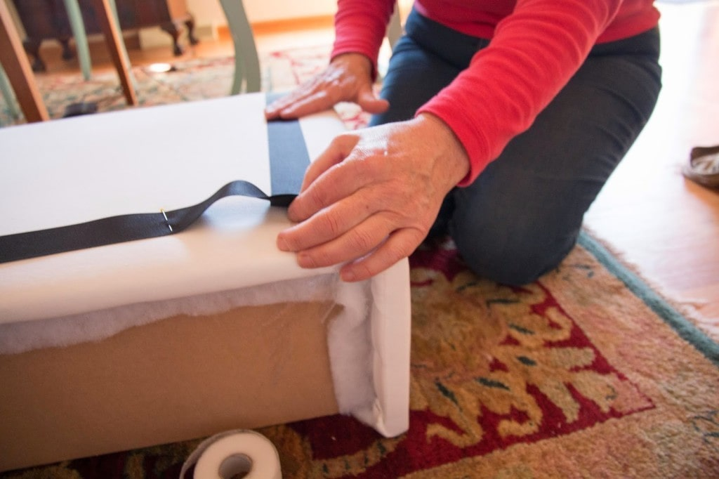 how to use stitch witchery to attach ribbon to valance box