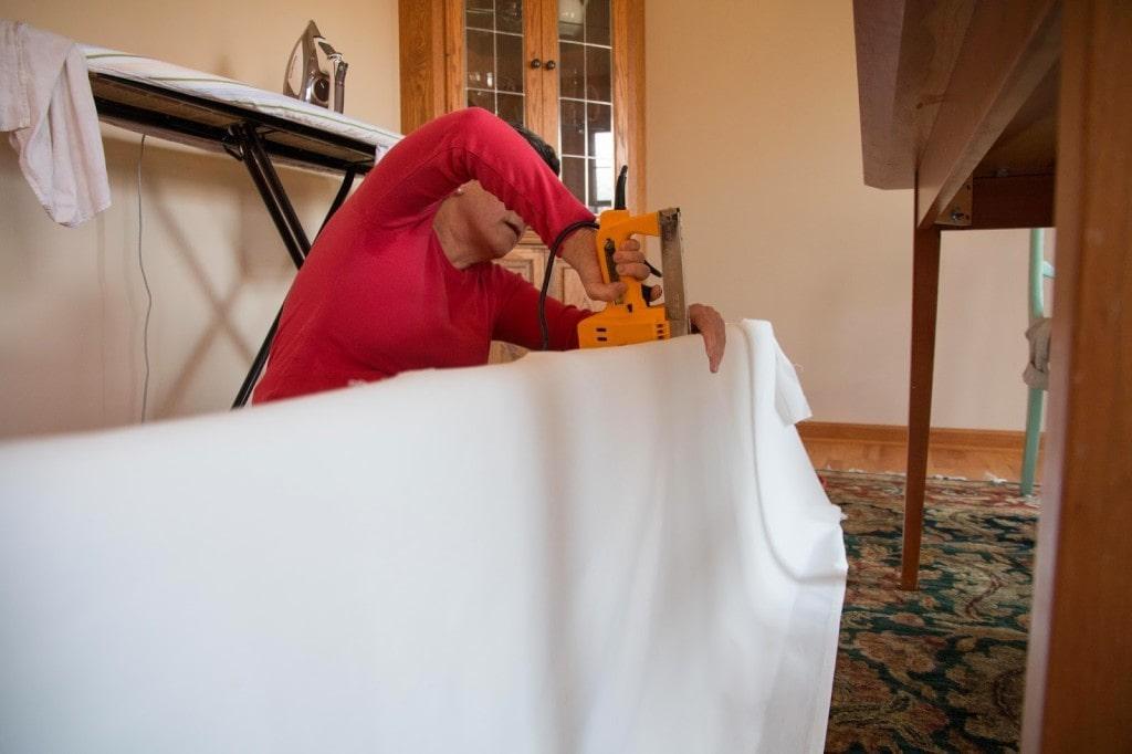 stapling curtains to DIY cornice box