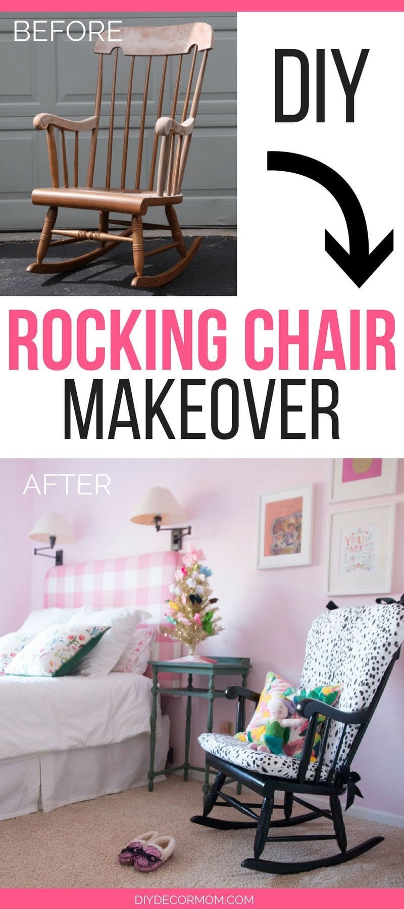 upholstered rocking chair before and after