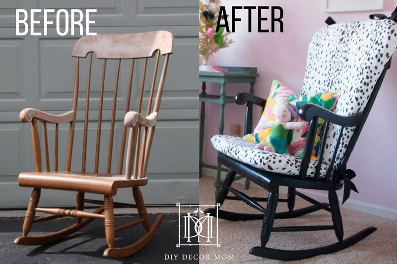 before and after upholstered rocking chair cushion | how to make a cushion for rocking chair