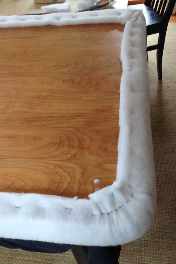 DIY Pink Buffalo Check Upholstered Headboard 13