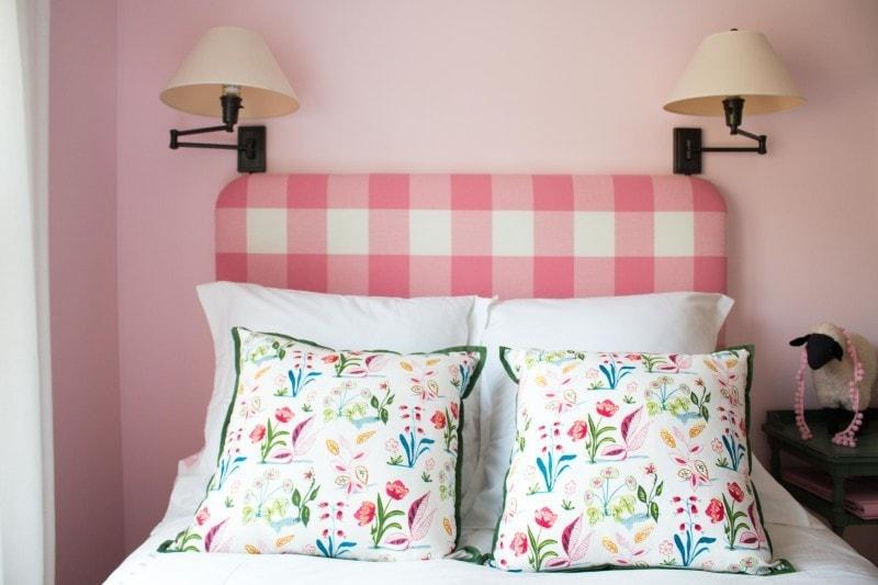 DIY Pink Buffalo Check Upholstered Headboard - DIY Upholstered Headboard Buffalo Check by popular home decor blogger DIY Decor Mom