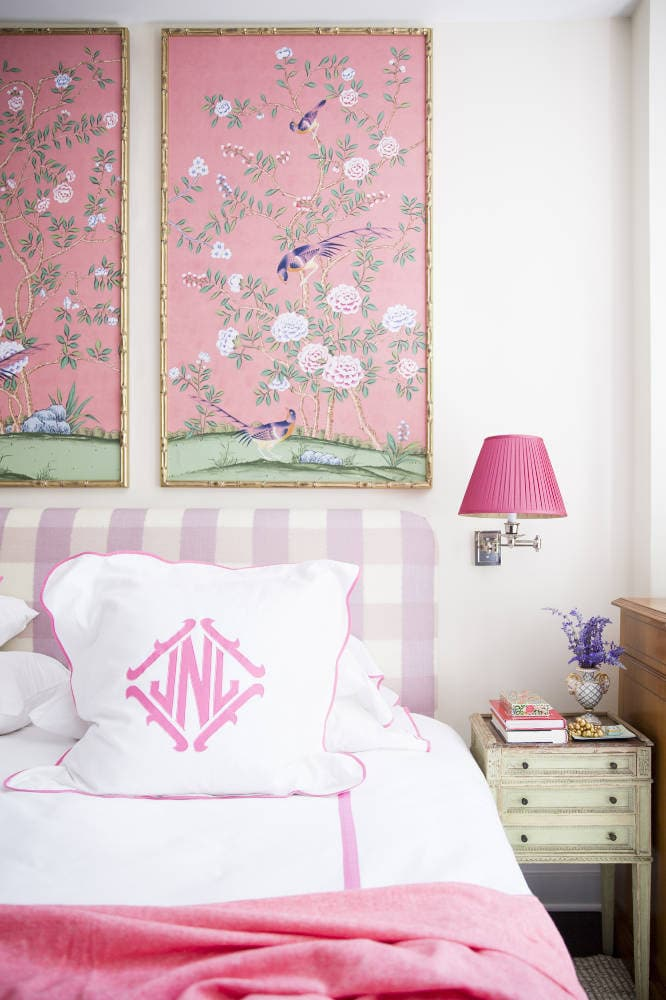DIY Pink Buffalo Check Upholstered Headboard 1 - DIY Upholstered Headboard Buffalo Check by popular home decor blogger DIY Decor Mom
