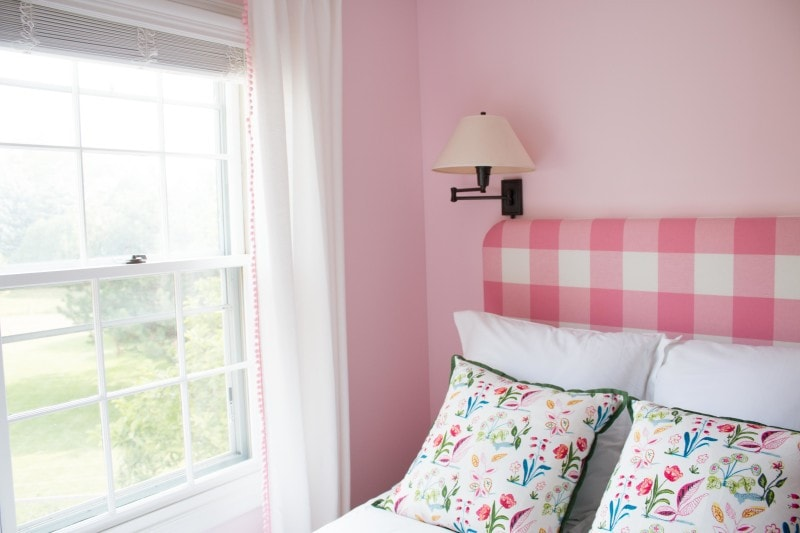 diy upholstered headboard full size in pink buffalo check in pink bedroom