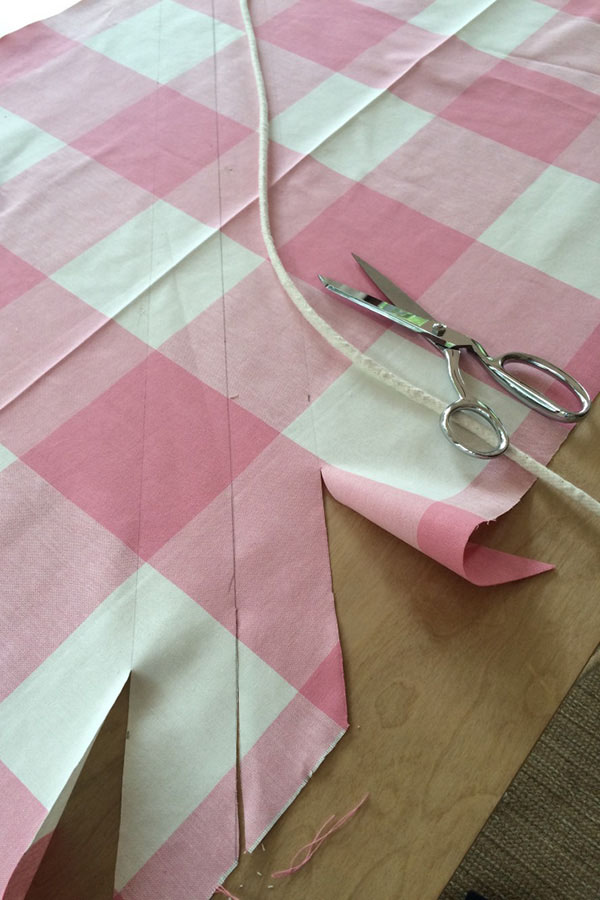 how to upholster a bench -- step 4 how to make cording with fabric and cord for diy upholstered bench