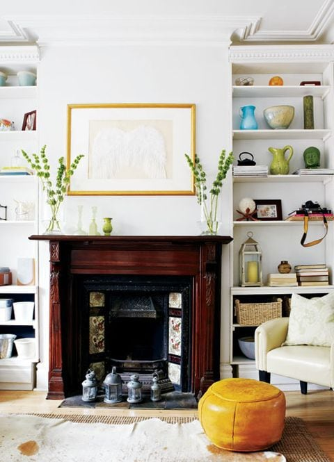 bright cheery living room symmetry