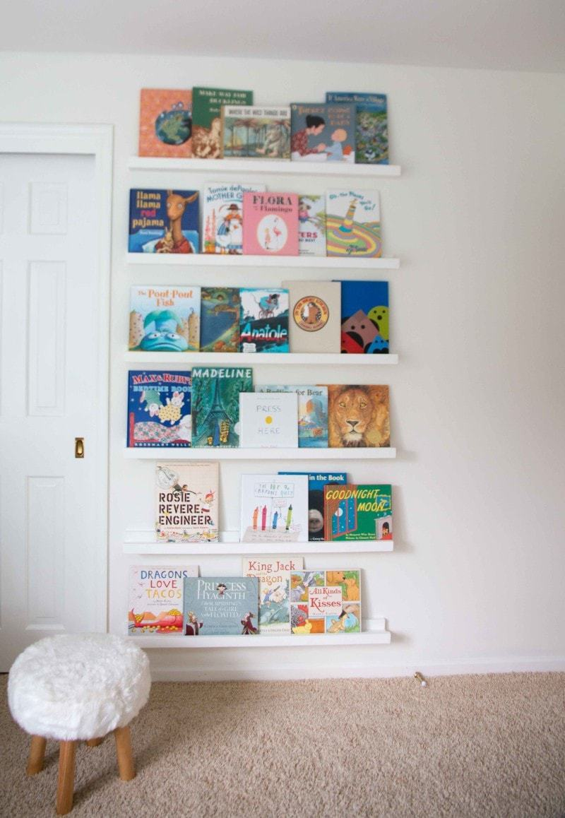 DIY book ledge bookcase nursery
