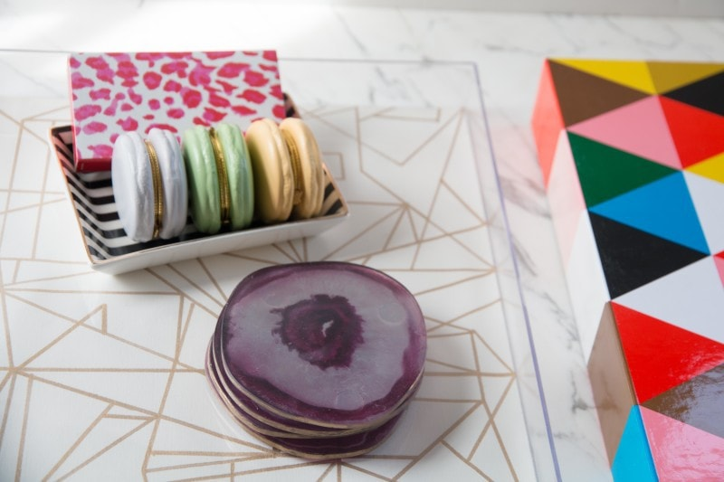 SUCH A CUTE DIY Project! This DIY Home decor accessory is super easy and budget friendly--love it the DIY Gold and Lucite tutorial by home blogger DIY Decor Mom!