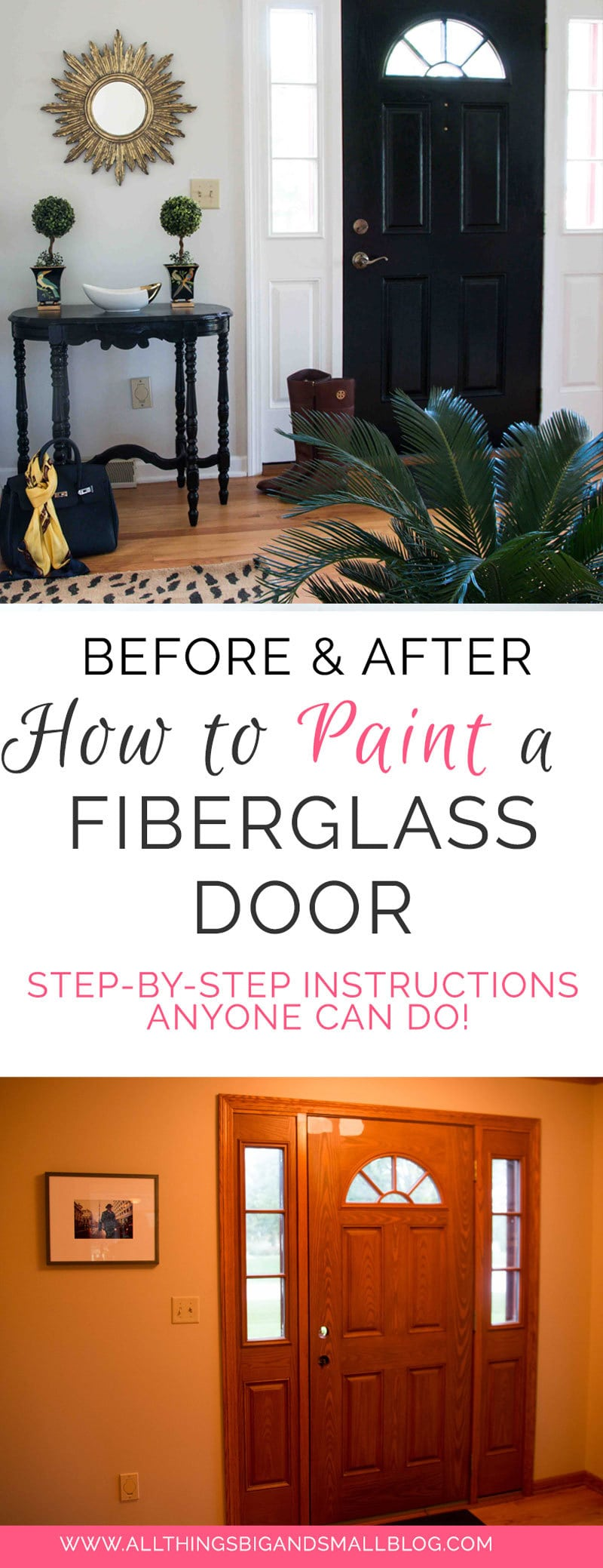 How To Paint Fiberglass Door: a step-by-step tutorial on how to paint front door from ALL THINGS BIG AND SMALL BLOG