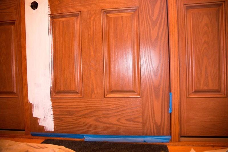 How To Paint Fiberglass Door and Oak Trim - How To Paint Fiberglass Door by home decor blogger DIY Decor Mom