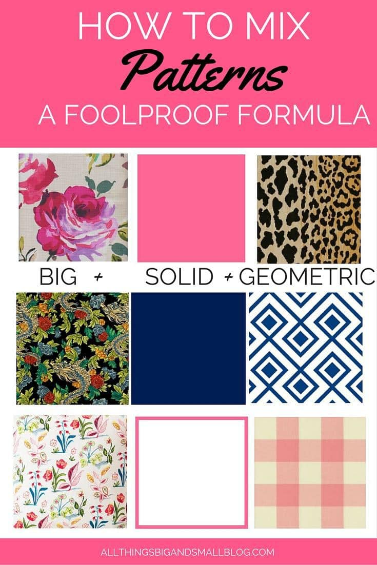 How To Mix Patterns- A Foolproof Formula from All Things Big and Small-- decorating your house on a budget doesn't have to be hard! For more budget friendly DIY decorating tips and tricks go to All Things Big and Small Blog!