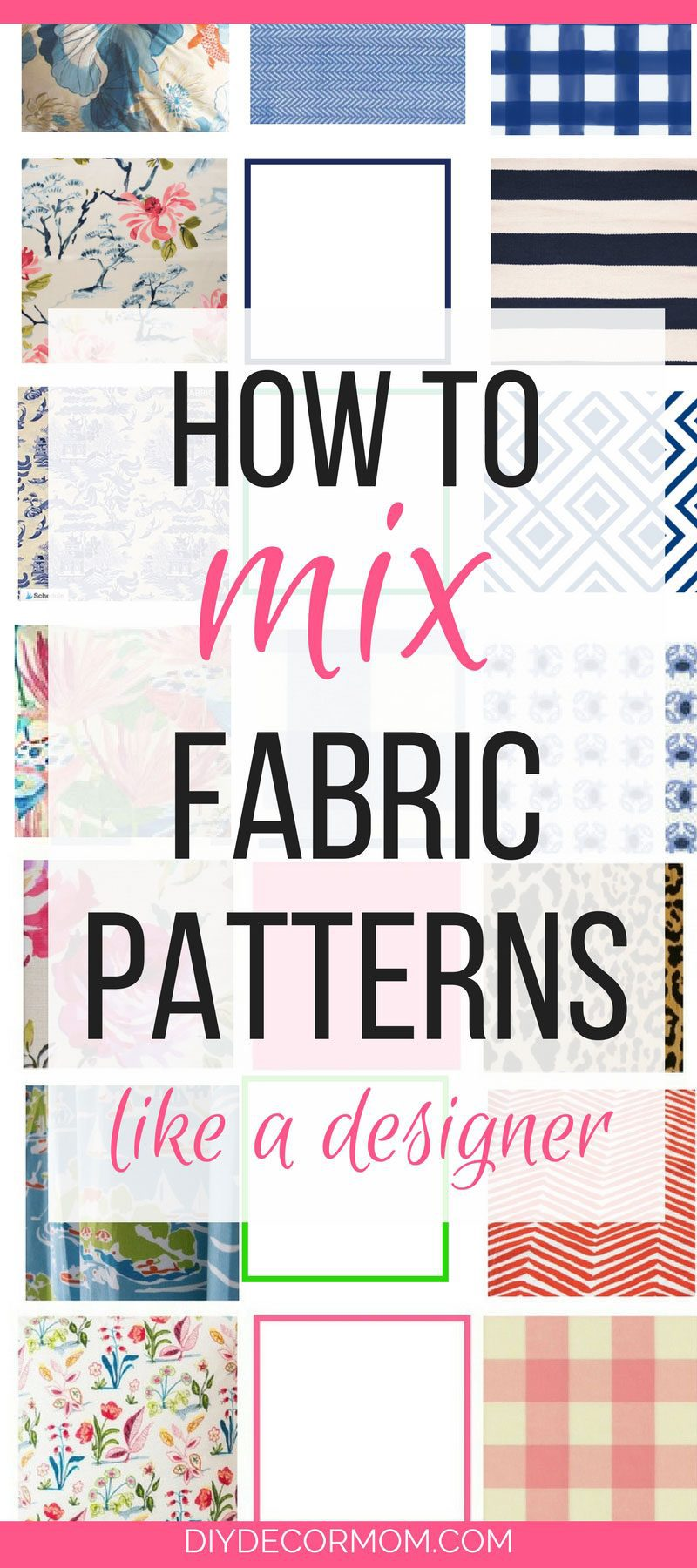 LOVE THIS! Failproof formula to mix fabric patterns like a designer--these tips will help you decorate your home and mix patterns! Tips and tricks from home decor blogger DIY Decor Mom