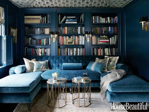 blue library house beautiful