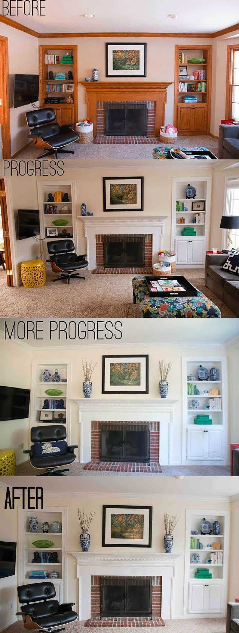 bookcase styling before after
