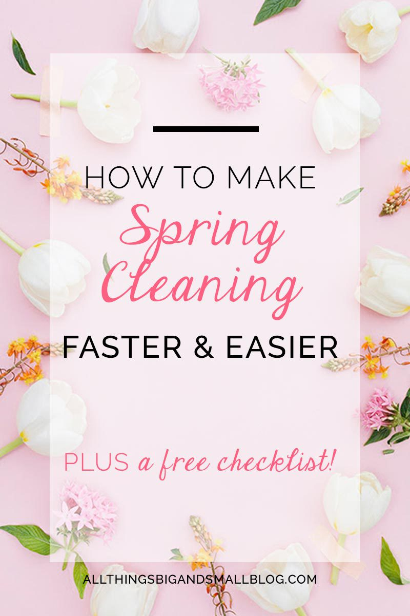 Spring Cleaning Checklist and Hacks to make spring cleaning easier! More household tips & tricks from a busy mama at All Things Big and Small Blog!