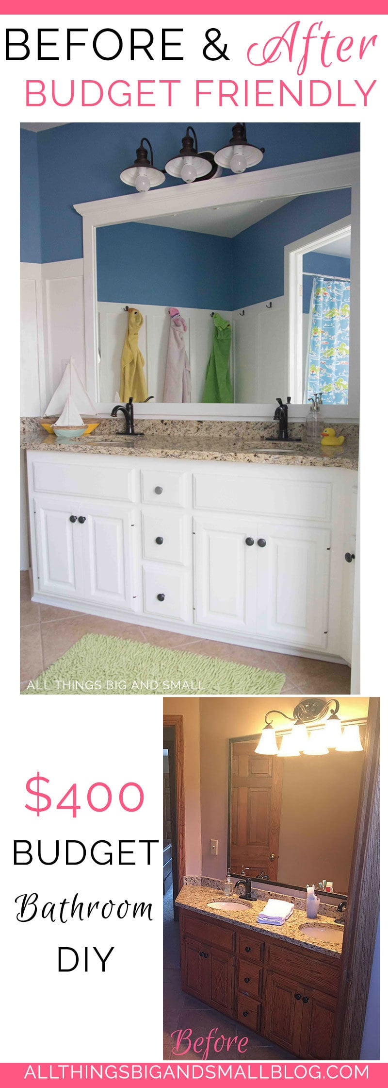 budget friendly bathroom | DIY bathroom | How to Paint Cabinets | Bathroom DIY | ALL THINGS BIG AND SMALL
