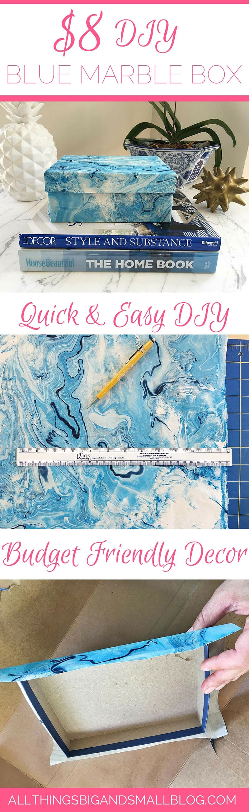 DIY Marble Box- Budget-friendly step-by-step guide to home decor for $8 PLUS a free Resource Guide for the best budget-friendly decorating resources all at All Things Big and Small Blog!