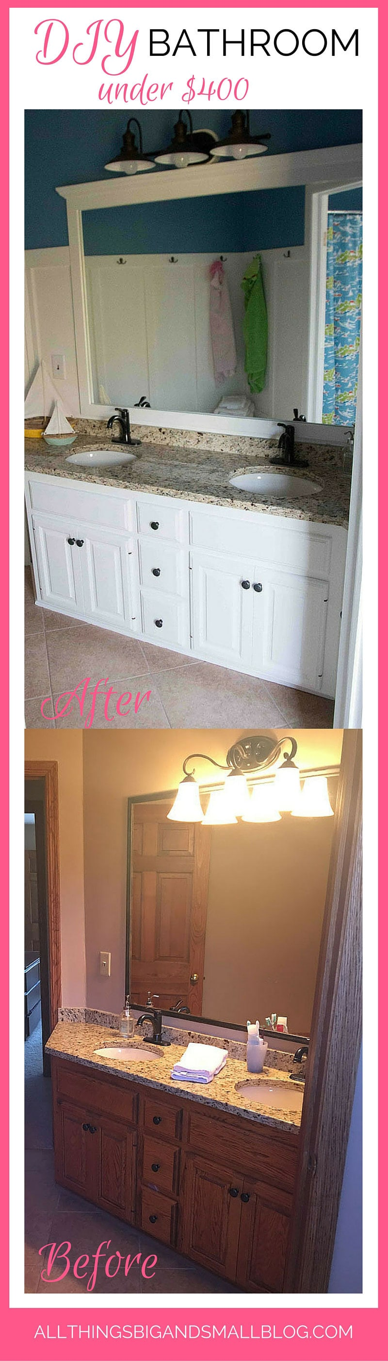 BEFORE and AFTER DIY bathroom for under $400--budget friendly bathroom DIY for a nautical kids bath! Full sources and directions at All Things Big and Small--a DIY Lifestyle Blog!