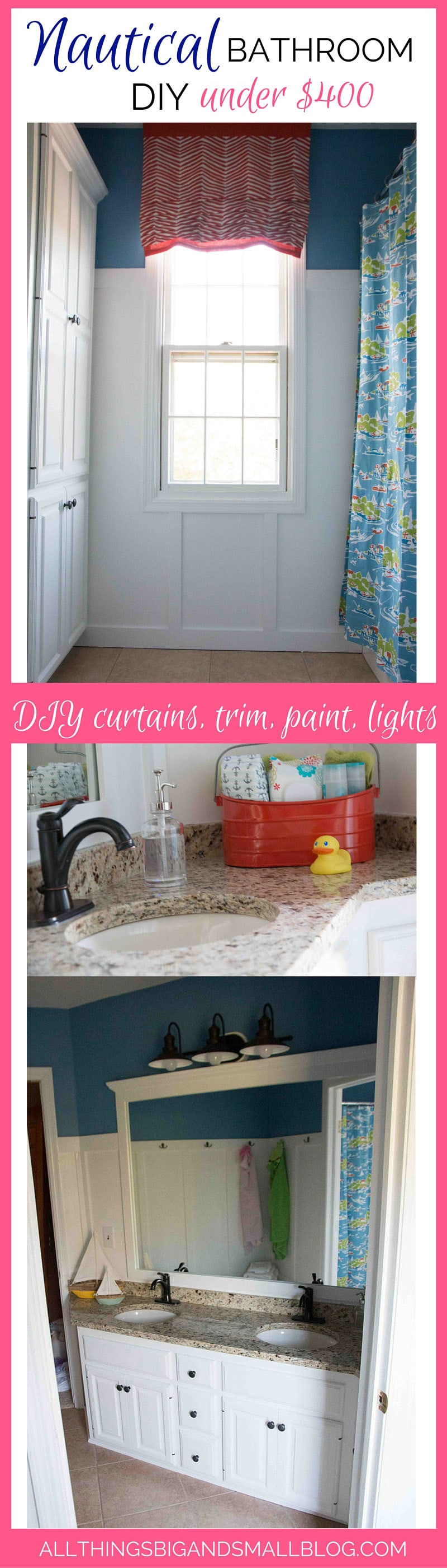 DIY nautical budget-friendly bathroom! Read and repin for later because I shared all of the sources, tips and tricks! Plus more from All Things Big and Small Blog--a DIY Lifestyle blog!
