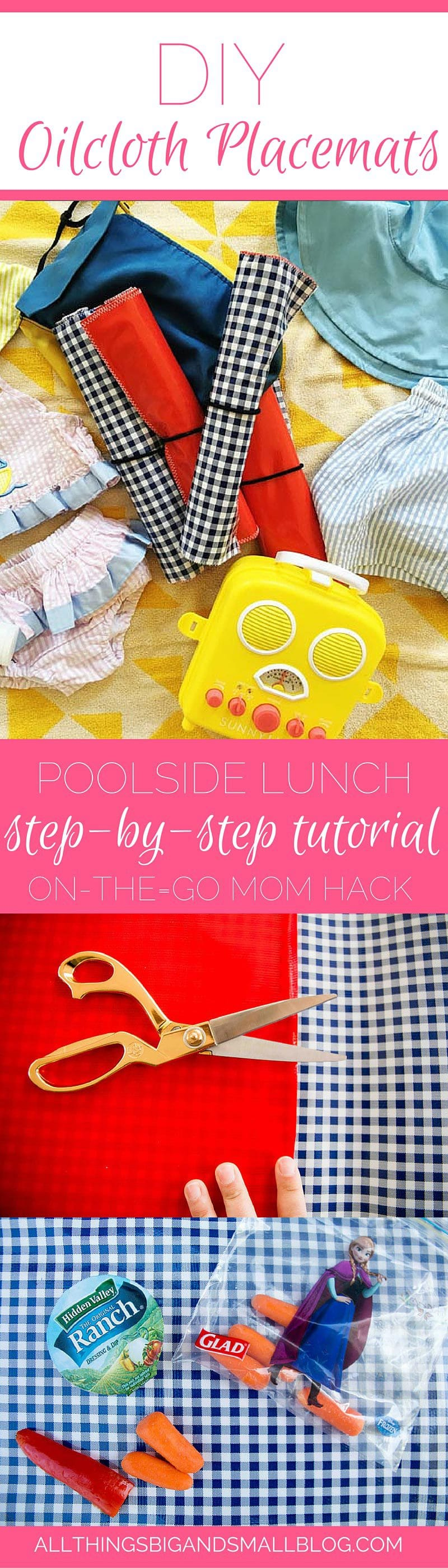 DIY Oilcloth Placemat- an easy DIY for the on-the-go mom. #ad Perfect for poolside lunches! This step-by-step is an easy DIY for parents of toddlers to get them to eat their lunches! More at All Things Big and Small Blog!