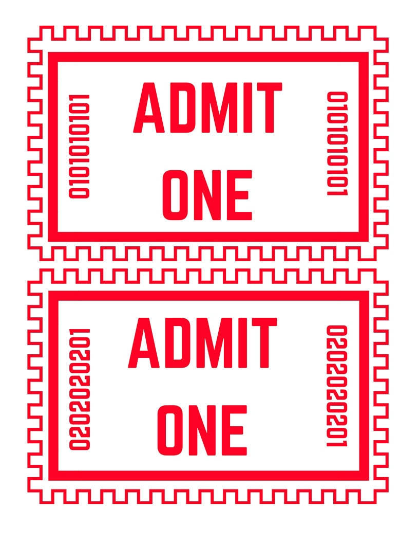 This is a picture of Enterprising Printable Movie Tickets