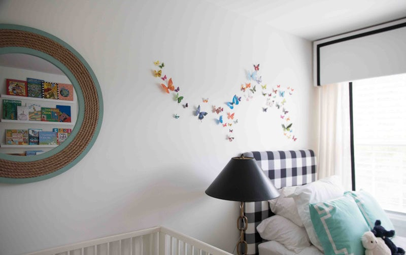 How to Add a 3-D butterfly wall in a nursery-- READ and REPIN for more budget-friendly decor and DIYs for nursery and home all at ALL THINGS BIG AND SMALL BLOG!