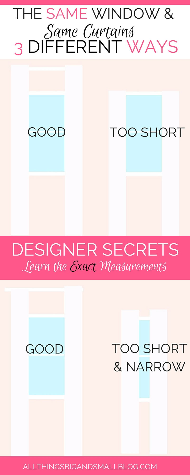 Designer Secrets--Are you making these common decorating mistakes? Then you need to check out this article. Learn the EXACT measurements that you should use when decorating your house! More Designer Secrets from All Things Big and Small! - DIY Greek Key Curtains by popular home decor blogger DIY Decor Mom