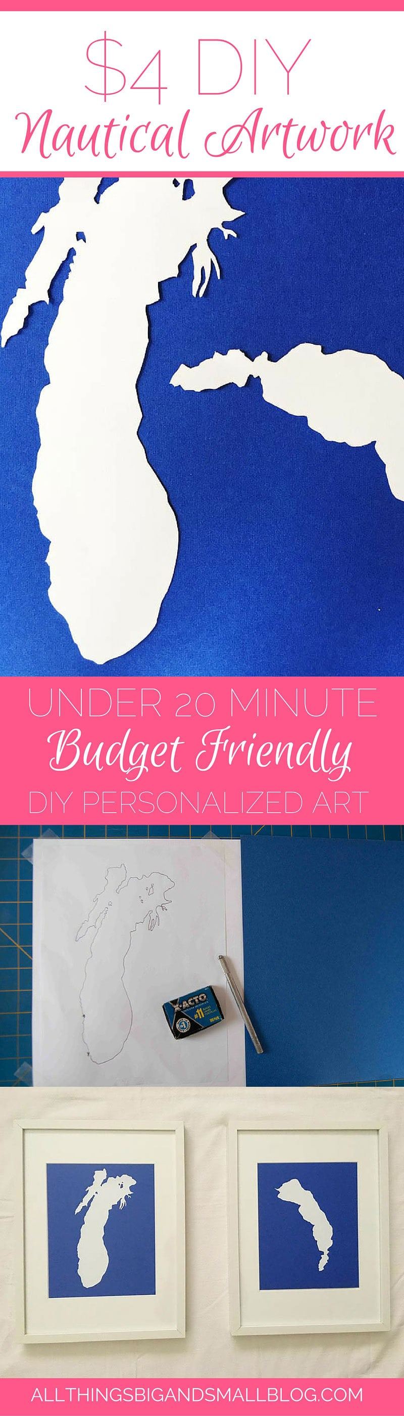 DIY Nautical Art- An easy budget-friendly project that is perfect inexpensive artwork for your home! This project only cost $4 and took under 20 Minutes! Perfect for busy moms! For more home decor projects go to All Things Big and Small Blog!