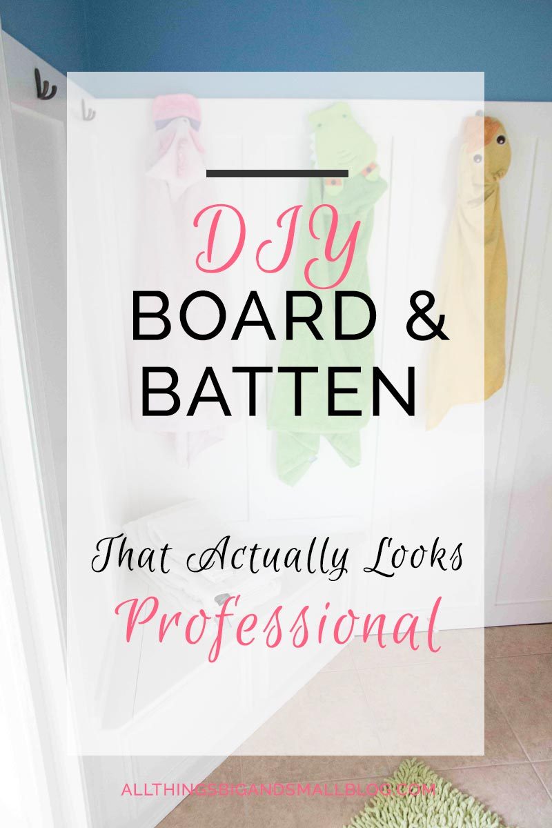 DIY Board and Batten- how to DIY budget friendly board and batten that will make your house look amazing! More DIY tutorials at All Things Big and Small Blog!
