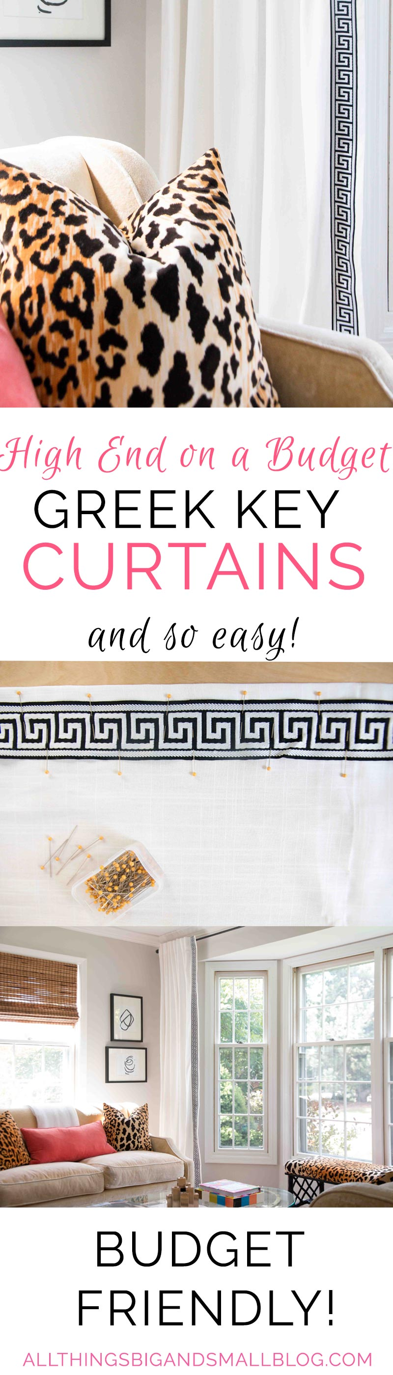 Budget Friendly DIY Greek Key Curtains | DIY Curtains | Greek Key Trim | ALL THINGS BIG AND SMALL BLOG - DIY Greek Key Curtains by popular home decor blogger DIY Decor Mom