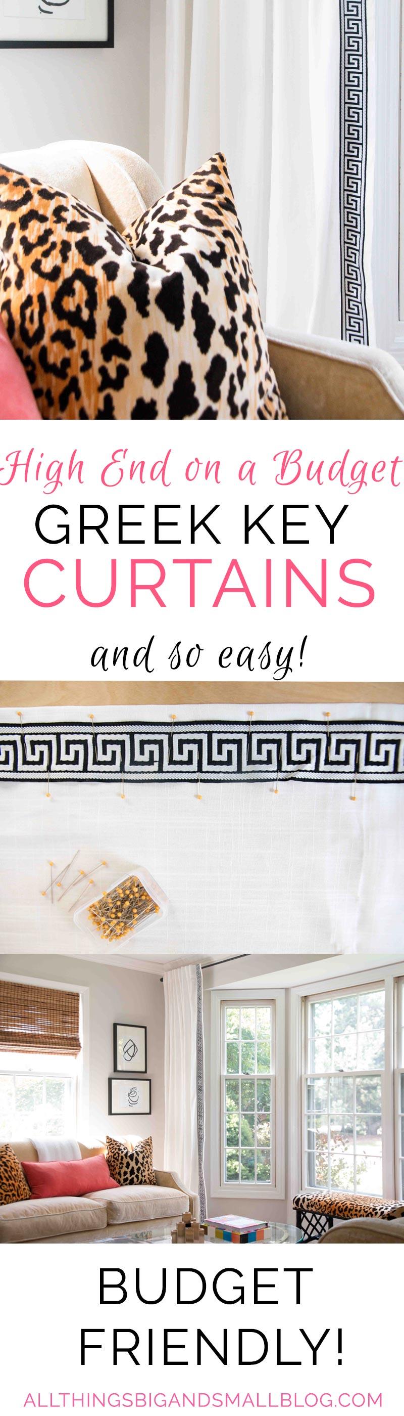 Budget Friendly DIY Greek Key Curtains | DIY Curtains | Greek Key Trim | ALL THINGS BIG AND SMALL BLOG - DIY Greek Key Curtains by popular home decor blogger DIY Decor Mom