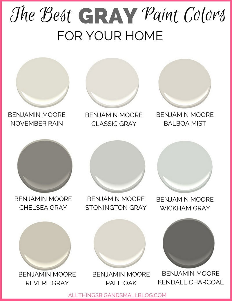Gray paint colors for your home best benjamin moore Different colours of grey paint
