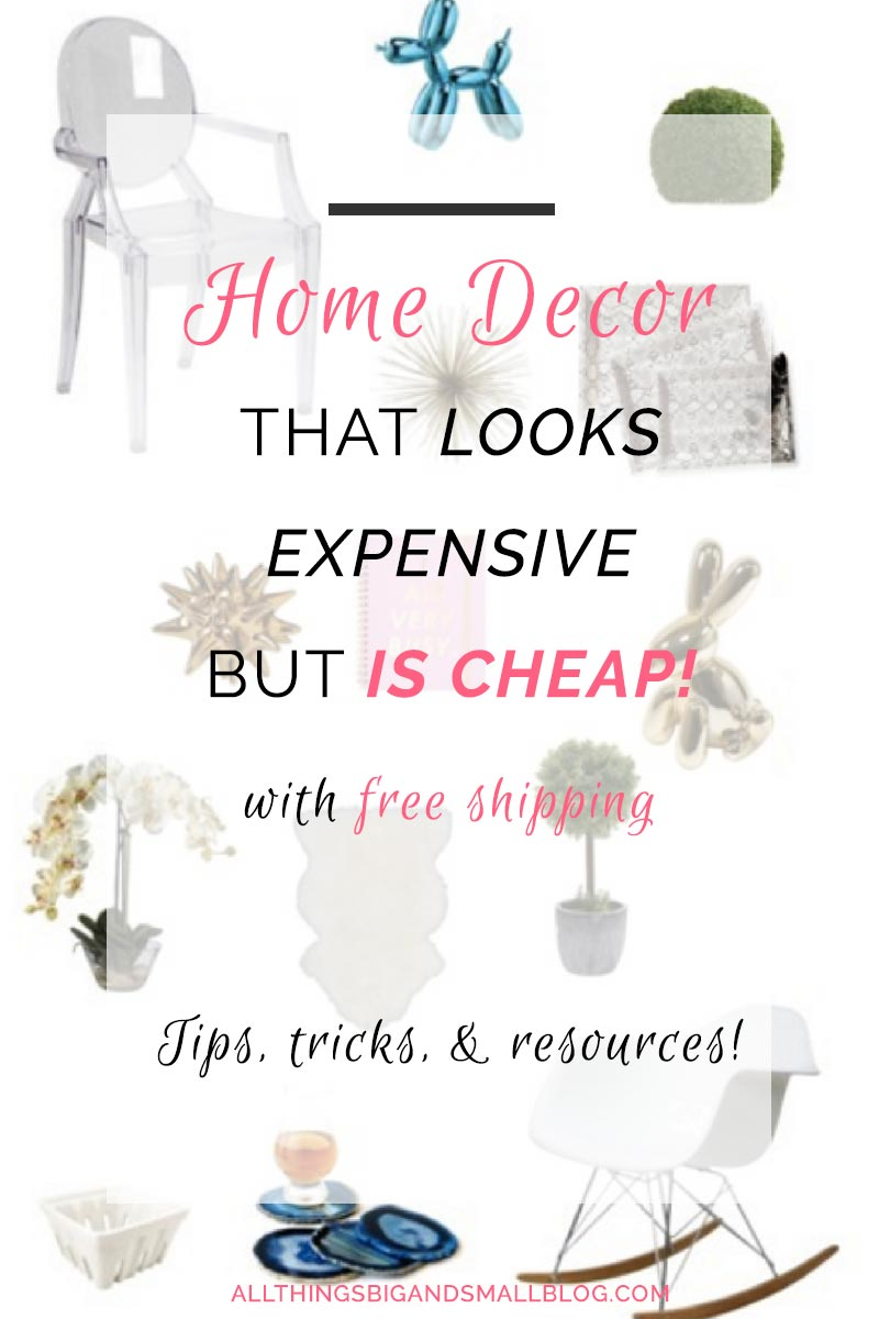 Cheap Home Decor: Decorate your home on a budget! See my tips, tricks, and SECRET RESOURCES with free shipping! DIY and DECOR at ALL THINGS BIG AND SMALL BLOG!
