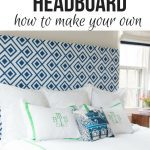 blue and white fabric upholstered DIY Upholstered Headboard with white bedding