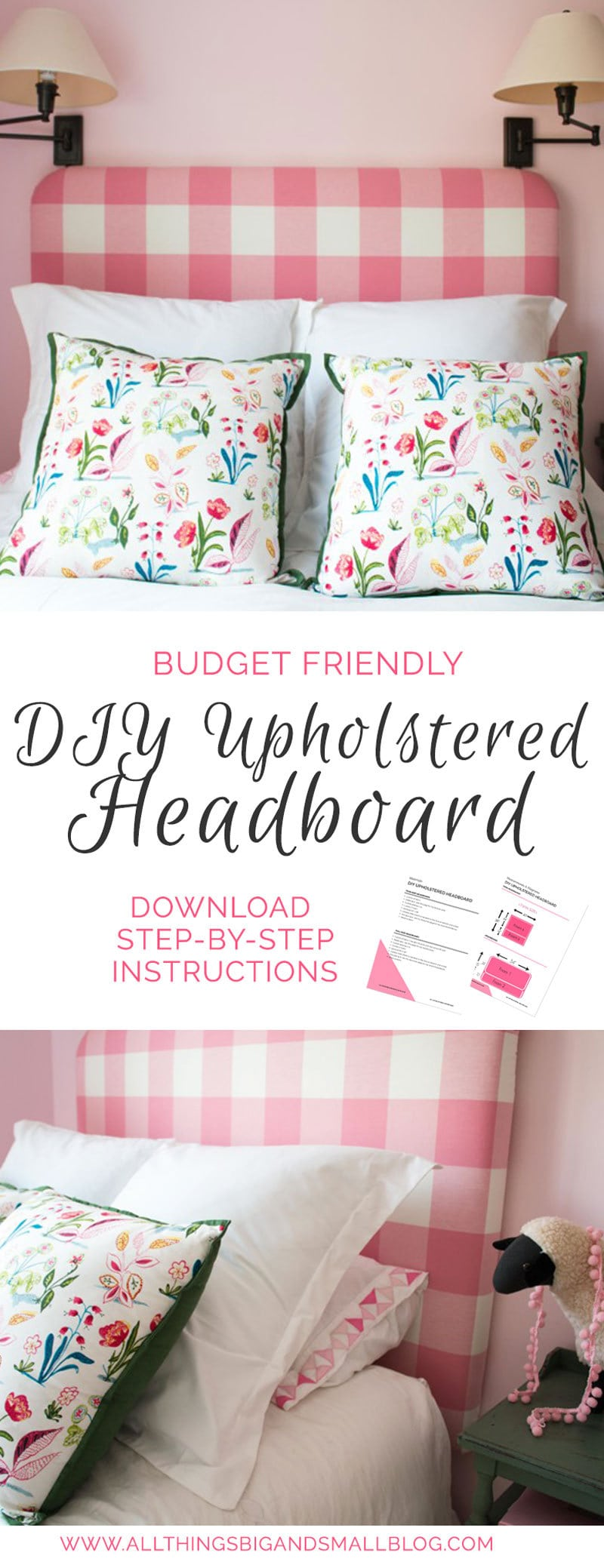 how to make a DIY Upholstered Headboard with pictures of pink buffalo check DIY Fabric Headboard