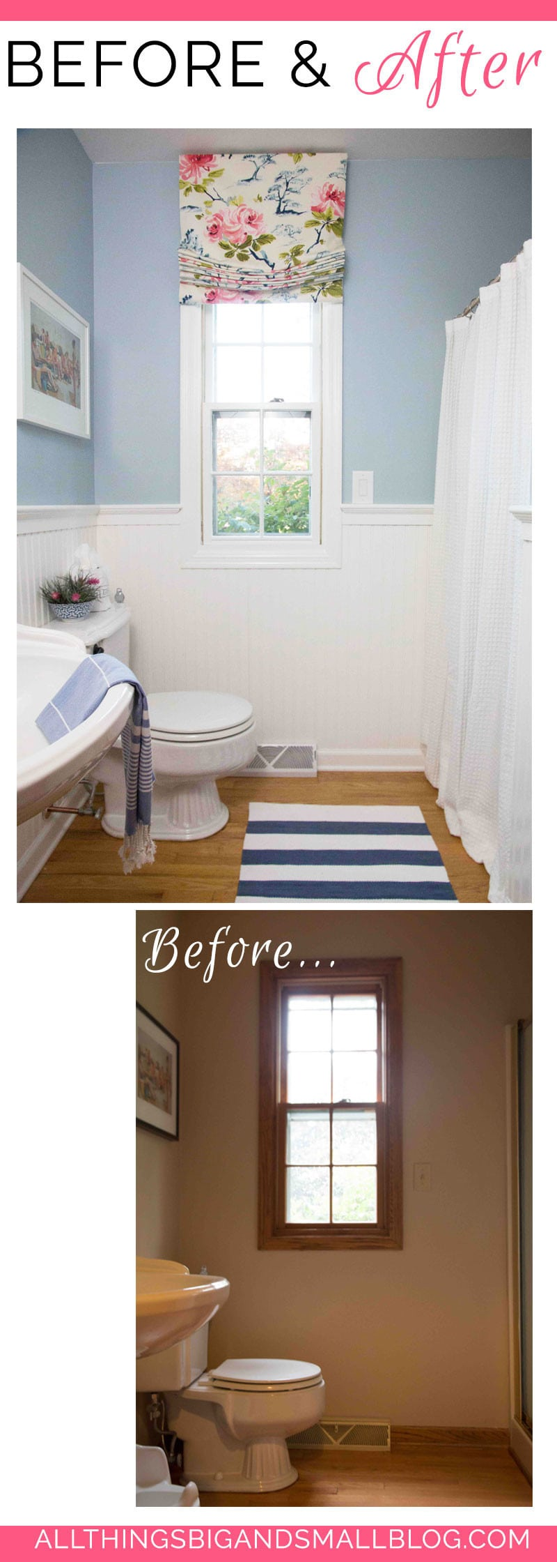 budget friendly blue and white bathroom before and after