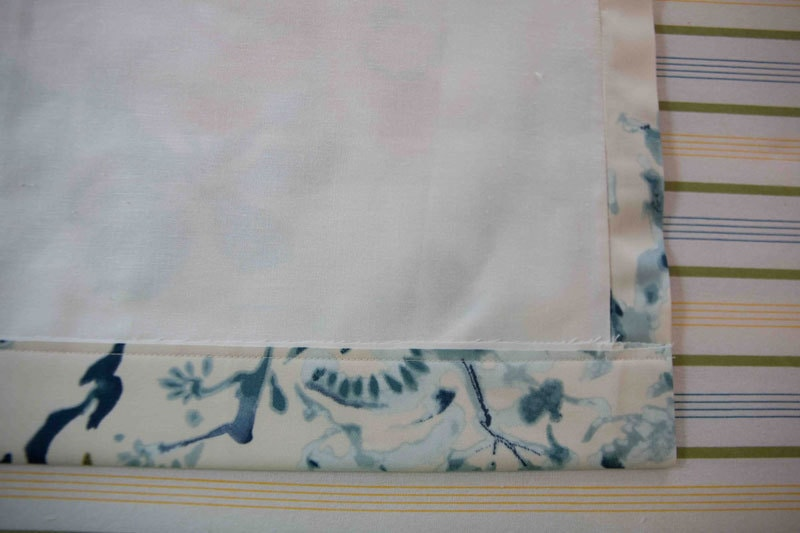 making easy DIY Roman Shade with fabric and liner