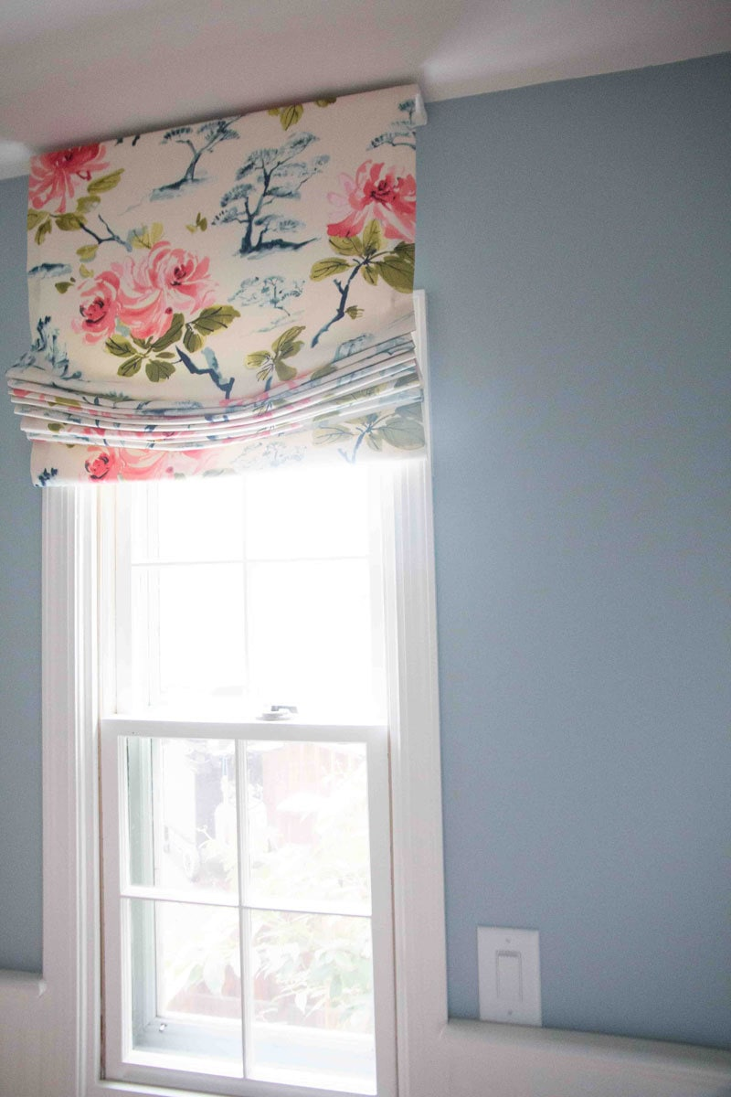 DIY Roman Shade side view on window in small bathroom