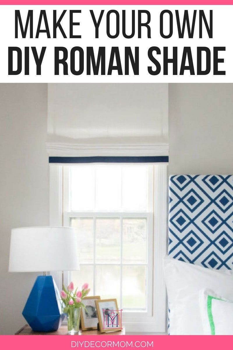 make roman shade tutorial- picture of roman shade above bedside table in bedroom