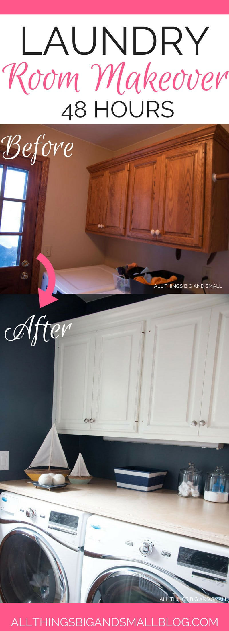 laundry room ideas | 48 hour laundry room MAKEOVER | budget friendly DIY laundry room | DIY laundry room | All Things Big and Small