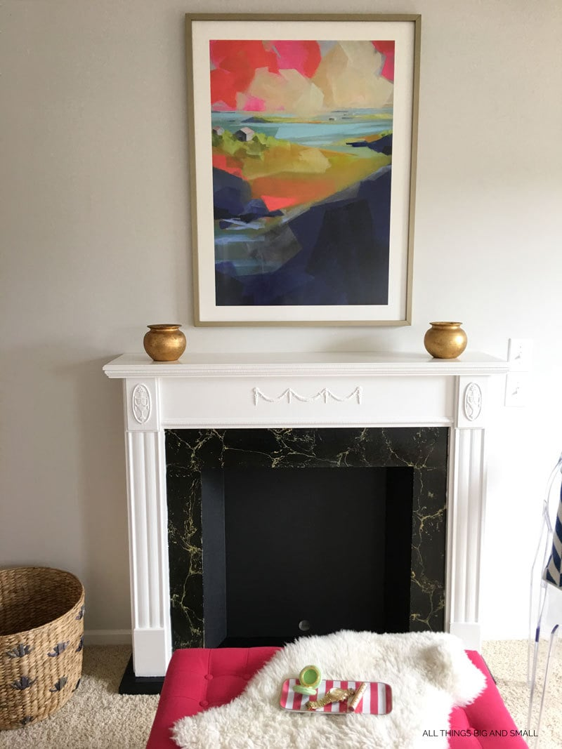 DIY Faux Fireplace and Mantel | Fake Fireplace | Faux Fireplace | DIY Mantel | ALL THINGS BIG AND SMALL