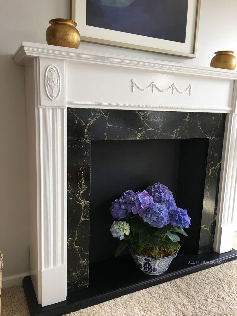 DIY Mantel and Fireplace | DIY Faux Fireplace | Faux Fireplace | ALL THINGS BIG AND SMALL