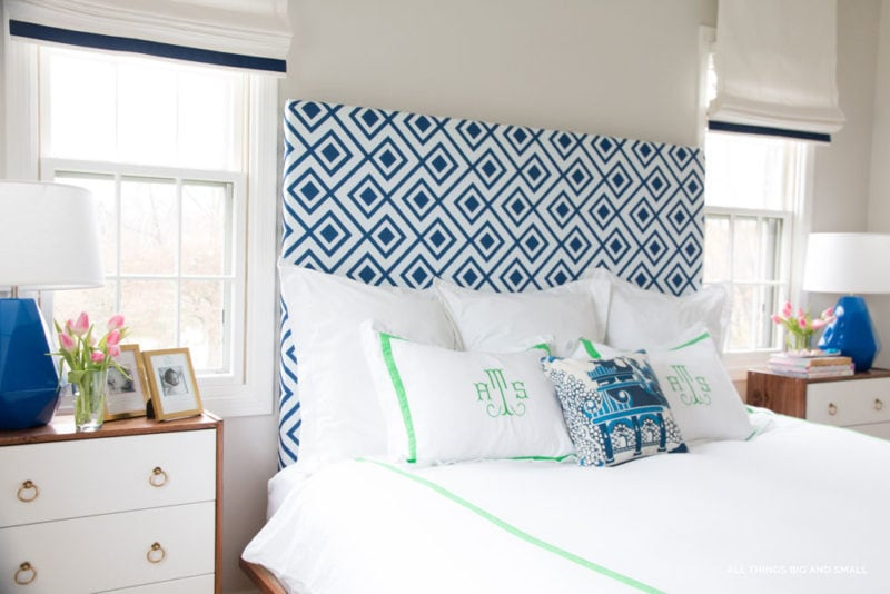 DIY headboard with monogrammed bedding--easy and simple decor ideas for your bedroom