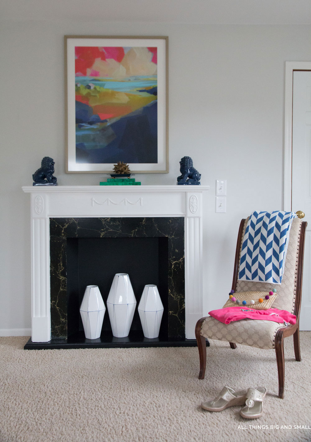 DIY Faux Fireplace- One Room Challenge - ALL THINGS BIG AND SMALL