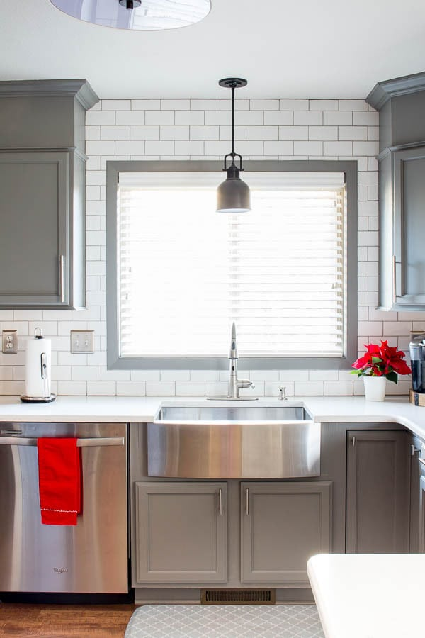 Benjamin Moore Chelsea Gray kitchen cabinets by Inspiration for Moms