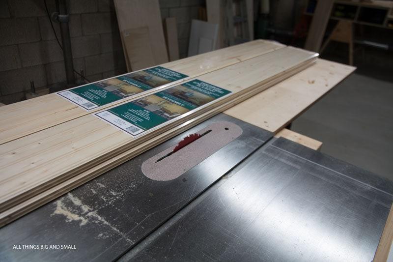 beadboard wood planks on table saw